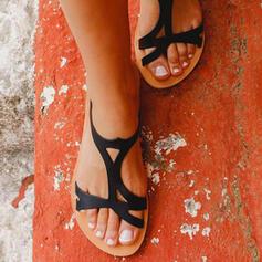 Női PU Lapos sarok Szandál Papucs -Val Hálós ruha cipő