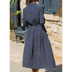 Print Long Sleeves A-line Casual Midi Dresses