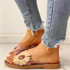 Dla kobiet PU Płaski Obcas Sandały Plaskie Japonki Kapcie Pierścień na palec Z Kwiaty obuwie