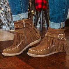 Pentru Femei PU Fară Toc Botine Deget rotund Cizme de iarna cu Fermoar Ciucure pantofi