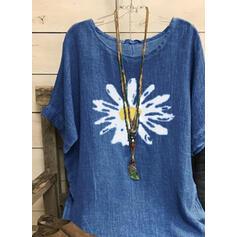 Распечатать Цветочный Шею 1/2 рукава Повседневная Блузы