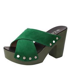 De mujer PU Tacón ancho Sandalias Salón Plataforma Encaje Pantuflas con Otros zapatos