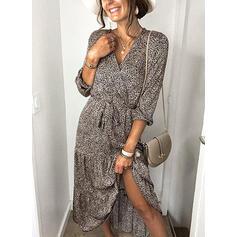 Print Long Sleeves A-line Wrap/Skater Casual Midi Dresses
