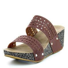 PU Plataforma Sandálias Plataforma Calços Peep toe Chinelos Saltos com Outros sapatos