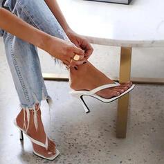 Bayanlar PU Topuklu ayakkabı Sandalet Pompalar Parmak arası terlik Terlik Ile Katı Renk ayakkabı