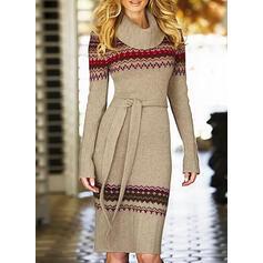 Print Long Sleeves Sheath Knee Length Casual Sweater Dresses