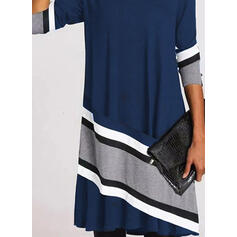 Color Block/Striped Long Sleeves Shift Knee Length Casual Dresses