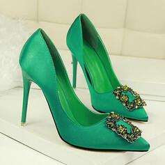 Pentru Femei Satin Toc Stiletto Încălţăminte cu Toc Înalt Închis la vârf cu Ştrasuri pantofi