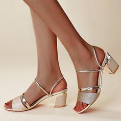 Bayanlar PU Tıknaz Topuk Sandalet Pompalar Peep Toe topuk Ile Payet Oymak ayakkabı