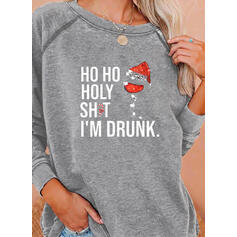 Sequins Figure Round Neck Long Sleeves Christmas Sweatshirt