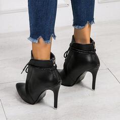 Kvinnor PU Stilettklack Stövlar med Split gemensamma skor