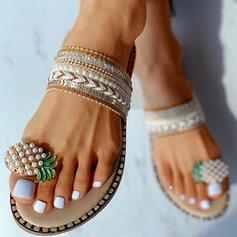 Women's Canvas Flat Heel Sandals Peep Toe Slippers shoes