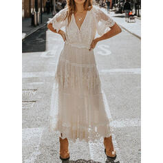 Lace/Solid Short Sleeves A-line Casual/Elegant Maxi Dresses