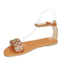 De mujer PU Tacón plano Sandalias Planos Encaje con Crystal Hebilla zapatos