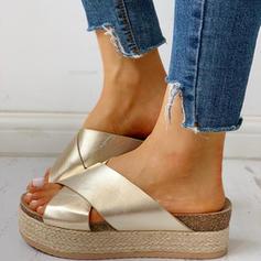 Mulheres PU Sem salto Sandálias Sem salto Peep toe Chinelos com Animal da Cópia sapatos