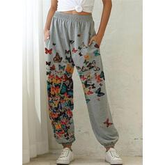 Print Plus Size Drawstring Long Casual Sporty Pants