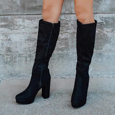 Women's Suede Chunky Heel Platform Knee High Boots Round Toe With Solid Color shoes