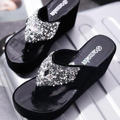 Bayanlar Süet Sivri topuk Sandalet platform Takozlar Parmak arası terlik Terlik topuk Ile Yapay elmas Payet ayakkabı
