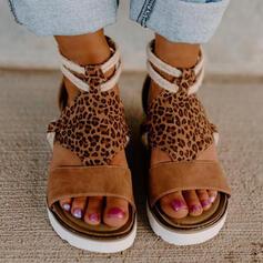 Dla kobiet Zamsz Obcas Koturnowy Sandały Platforma Koturny Otwarty Nosek Buta Z Nadruk Zwierzęcy Kolor splotu obuwie
