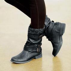 Mulheres PU Sem salto Botas Botas na panturrilha Botas de inverno com Fivela sapatos