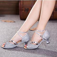 Kvinder Latin Hæle sandaler Pumps Mousserende Glitter med Ankel Strop Udhul Paillet Latin