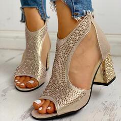 Bayanlar PU Tıknaz Topuk Sandalet Peep Toe Ile Yapay elmas Fermuar ayakkabı
