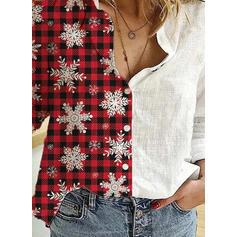 Print Plaid Lapel Long Sleeves Casual Christmas Shirt Blouses