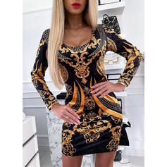 Print Long Sleeves Bodycon Above Knee Vintage/Elegant Dresses