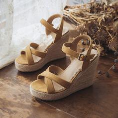 Dla kobiet Zamsz Obcas Koturnowy Sandały Koturny Z Klamra obuwie
