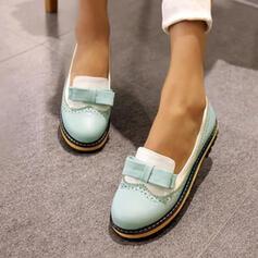 Femmes PU Talon bas Chaussures plates avec Bowknot chaussures