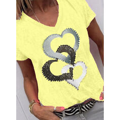 Print Heart V-Neck Short Sleeves Casual T-shirts