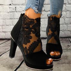 Női Szövet Háló Tűsarok Szandál Magassarkú -Val Csokornyakkendő Lace-up Szolid szín cipő