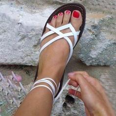PU Düz topuk Sandalet Flats Peep Toe Ile Diğerleri ayakkabı