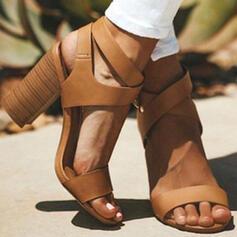 Женский PU Толстый каблук Насосы с Выдолбить обувь