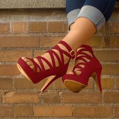 Frauen PU Stöckel Absatz Sandalen mit Schnalle Schuhe