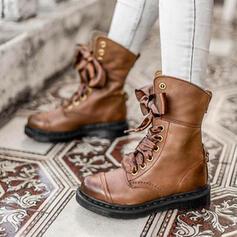 Kvinner PU Stor Hæl Ankelstøvler Martin Boots Round Toe med Blondér Skjøtefarge sko