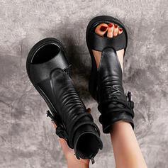 Женский PU Танкетка Peep Toe Высокая вершина Круглый носок с Зашнуровать обувь