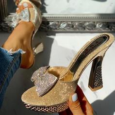 Bayanlar PU Tıknaz Topuk Sandalet Peep Toe Terlik Ile Yapay elmas İlmek ayakkabı