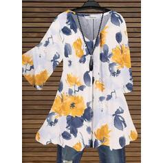 Распечатать Цветочный V шеи Длинные рукова Повседневная Блузы