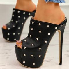 Bayanlar PU Topuklu ayakkabı Pompalar platform Peep Toe Ile Perçin Oymak ayakkabı