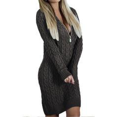 Sólido Punto De Cable Punto Grueso Cuello en V Casuales Largo Vestido de Suéter