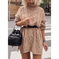 Sólido Manga Larga Acampanado Sobre la Rodilla Casual Suéter Vestidos