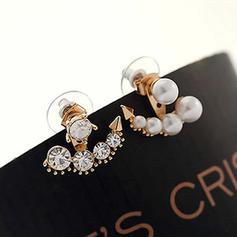 Niza Aleación Diamantes de imitación con Perlas de imitación Señoras' Pendientes