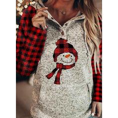 Grid Pockets Long Sleeves Christmas Sweatshirt