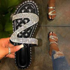 Női PVC Lapos sarok Szandál Peep Toe Papucs -Val Hegyikristály Szegecs cipő