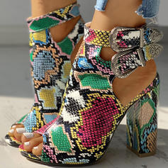 Dla kobiet PU Obcas Slupek Sandały Czólenka Otwarty Nosek Buta Obcasy Z Klamra Nadruk Zwierzęcy obuwie
