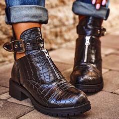 Bayanlar PU Tıknaz Topuk Ayak bileği çizmeler Yuvarlak ayak Chelsea Çizmeler Ile Toka Fermuar Oymak Katı Renk ayakkabı