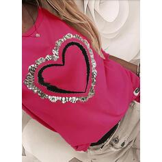 Estampado Lantejoulas Coração Gola Redonda Manga Comprida Casual Camisetas
