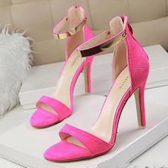 De mujer Ante Tacón stilettos Sandalias Salón Encaje con Lentejuelas Cremallera zapatos