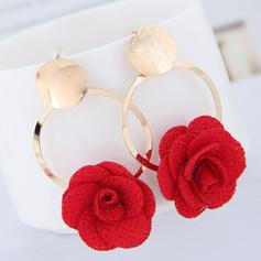Blomst Formet Legering Stoff med blomst Kvinner Fashion øredobber